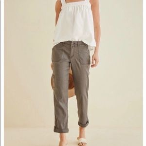 Anthropologie Level 99 Linen Cropped Cargo Pants